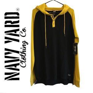 Navy Yard Comfy Long Sleeve Hoodie Black & Yellow Bunny Hug Size Large Men's